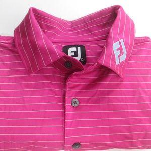FootJoy FJ Pink Striped Golf Polo Shirt